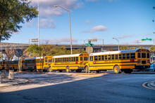 JACKSONVILLE, FL - FEBRUARY 2016: School Buses At The Terminal Station