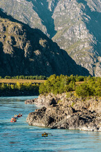 Outdoor Vacations. Rafting On A Mountain River. Beautiful Summer Landscape