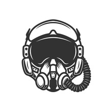 Illustration Of Pilot Helmet. Design Element For Logo, Label, Sign, Emblem, Poster. Vector Illustration
