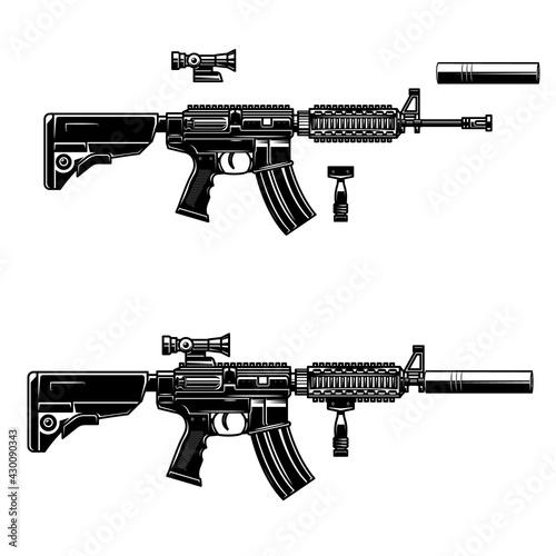 Fototapeta Illustration of american automatic assault rifle