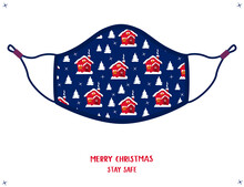 Stay Safe Winter  Merry Christmas Xmas Winter Protective Face Mask With Festive Holiday Red Houses Pattern, Isolated Vector Illustration