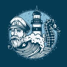 Marine Sailor Captain With Smoking Pipe. Nautical Wanderlust Sea Adventure Illustration Of Skipper