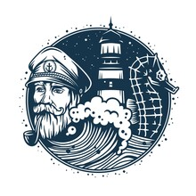 Marine Sailor Captain With Smoking Pipe. Nautical Wanderlust Sea Adventure Illustration Of Skipper