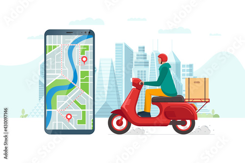 Safe contactless delivery service app concept. Boy courier in motorbike helmet on red scooter moped delivering package box. Online ordering mobile application on cityscape and location pin eps - fototapety na wymiar