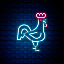 Glowing Neon Line French Rooster Icon Isolated On Brick Wall Background. Colorful Outline Concept. Vector