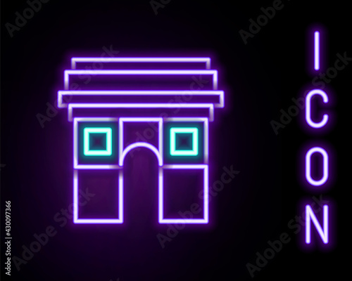 Glowing neon line Triumphal Arch icon isolated on black background Wallpaper Mural