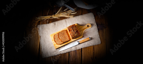 Valokuva Moist wholemeal bread, crushed or ground whole grain