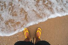 The Beach On The Island On A Rainy Day