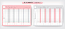 Calendar Yearly Planner Template. Wall Calendar Design, Printable Template, Week Starts On Monday. Vector Stationery Design, You Can Use It Every Year, Vector EPS10.