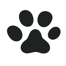 The Paw Of A Pet. The Paw Icon Is Suitable For A Cat, Dog, Or Wild Animal. Isolated On A White Background.
