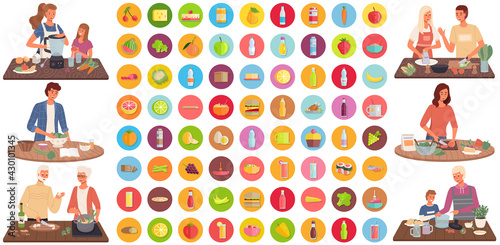 Fototapeta Set of illustrations about people cooking vegetarian meals. Proper nutrition, healthy lifestyle and vegetarianism concept. Process of cooking meal. Natural organic food ingredients icons isolated obraz