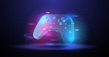 Vector Illustration With Hud Elements. Wireless Controller Gamepad For Play Games. Neon Glowing Gamepad. Cloud Gaming Concept.