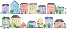 Pixel Art Empty City Vector. Pixelated City Downtown Landscape With Small Houses And Buildings. Design For Mobile App, Computer Game. Low-rise Apartment Buildings Isolated On White Background