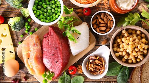 Fototapeta health food selection- balanced diet food obraz