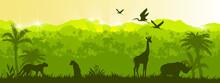 Jungle Vector Forest Silhouette Landscape, Green Tropical Nature Background, Leopard, Giraffe, Rhino. Rainforest Wildlife Environment Ecology Banner, Summer Outline Panorama. Animal Jungle Landscape