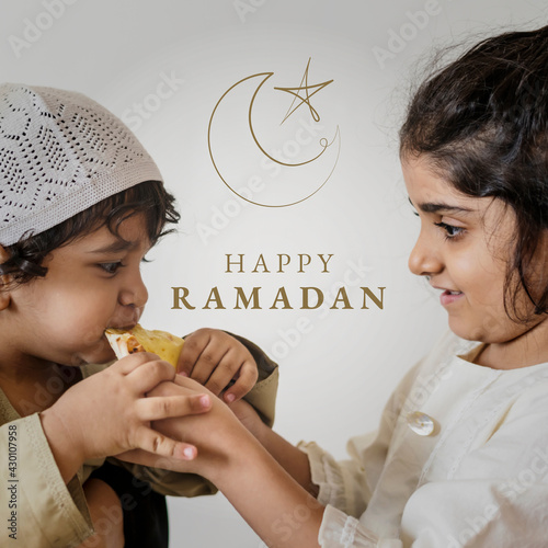 Obraz na płótnie Ramadan holy month greeting for social media post