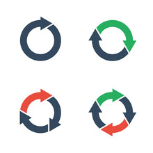 Round Arrows Icons Set, One Two Three And Four Curved Arrows, Repetition Or Cycle Pictogram