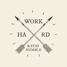 Cross Arrow Logo Work Hard And Stay Humble