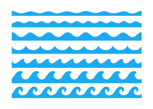 Water Wave Vector. Waves Swaying In Lakes And Oceans Isolated On White Background