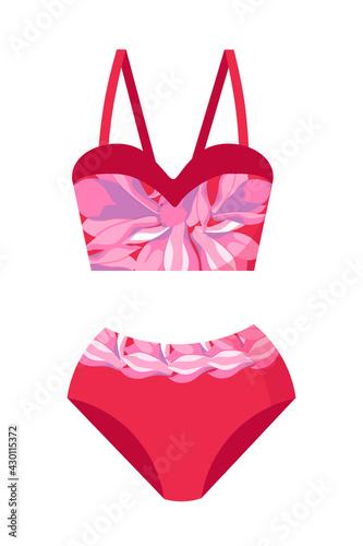 Fototapeta Fashionable women's swimsuit, bra and bikini with a print of magnolia flowers