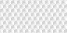 Seamless Geometric Cube Background. 3d Abstract White And Grey Design Vector Illustration. Retro Style With Mosaic Structure Effect. Modern Wallpaper With Dimensions In Volume