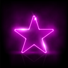 Glowing Neon Purple Star With Sparkles In Fog Abstract Background. Electric Light Frame. Geometric Fashion Design Vector Illustration. Empty Minimal Abstract Art Decoration