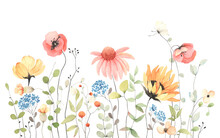 Summer Banner With Colorful Wildflowers And Abstract Green Plants, Isolated Watercolor Illustration For Card, Border, Wallpaper, Poster Or Template Your Design.