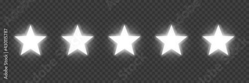 Fotografia Five silver award stars on transparent background