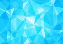 水色のポリゴン背景イラスト 幾何学模様 クリスタル 宝石 Polygonal Background Blue