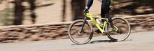 Bike Panning Shot In The Forest, Mountain Bike Race
