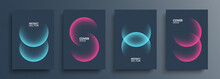 Cover Template Layouts With Vibrant Gradient Round Shapes. Futuristic Abstract Backgrounds With Glossy Sphere For Your Graphic Design. Vector Illustration.