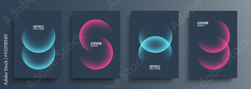 Fotografia Cover template layouts with vibrant gradient round shapes
