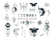 Mystical Moon Collection. Spiritual Tattoo. Celestial Prints.