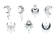 Mystical Floral Moon Collection. Spiritual Tattoo. Celestial Lotus Prints.