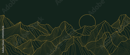 landscape wallpaper design with Golden mountain line arts, luxury background design for cover, invitation background, packaging design, fabric, and print. Vector illustration. - fototapety na wymiar