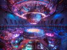 Technology Futuristic Background, Interior Science Fiction Spaceship
