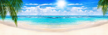 Beautiful Tropical Sand Beach Panorama View Turquoise Sea Water Ocean Wave Green Palm Tree Leaves Sun Blue Sky White Cloud, Summer Holidays Exotic Island Vacation, Caribbean Travel, Maldives Landscape