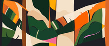 Contemporary Artistic Jungle Print. Fashionable Template For Design.