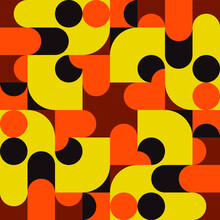 Same Rounded Shapes Pattern. Vector Yellow And Orange Ornament.
