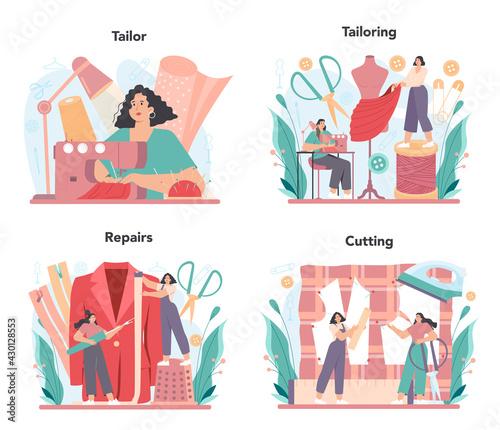 Fototapeta Tailor concept set. Fashion designer sewing or fitting clothes. Dressmaker obraz