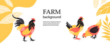 Horizontal Agricultural Background. Silhouettes Of Chickens And Roosters.