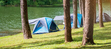 Camping Under The Pine Forest, Blue Tent Near Lake At Pang Oung, Mae Hong Son, Thailand. Travel, Trip And Vacation Concept