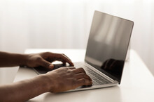 African American Male Hands Typing On Laptop Keyboard, Cropped, Closeup. Modern Technologies And Business Concept