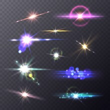 Lens Flare Effects. Realistic Lights Camera Flashes, Shining Overlay Elements, Artistic Bokeh Background, Sun And Stars Glowing. Bright Colorful Glare. Vector Isolated Set