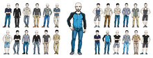 Handsome Men In Casual Wear Standing And Posing Vector Illustrations Big Set Isolated On White Background, Attractive Gorgeous Males In Full Body Length People Characters Collection.