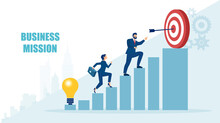 Vector Of A Business Man And A Businesswoman Climbing Up Stairs To Reach A Business Mission