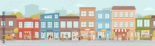 City small buildings facade exterior design. Vector urban street with local markets, flower florist shop, bakery and barbershop, clothing boutiques and cafes, restaurants and cafeterias, people - fototapety na wymiar