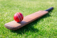 Cricket Ball On Top Of Cricket Bat On Green Grass Of Cricket Pitch