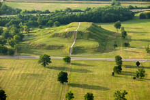 Aerial View Of Cahokia Mounds Native American Burial Grounds Near Collinsville, Illinois, USA.