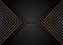 Black And Golden Arrows Abstract Tech Geometric Background. Luxury Glitter Corporate Vector Design